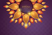 Happy Diwali festival with Diwali oil lamp, DIwali holiday Bacground with diya lamps and rangoli, Symbol of Diwali celebration greeting card, Gold Lanterns, arabic lamps, islamic art Stylel, Paper art vector illustration