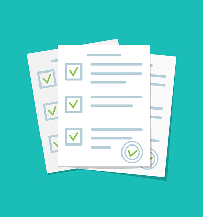 Paper document. Form for exam with checklist. Paperwork with test report. List of check questionnaire and survey. Sheets of contract with agreement and stamp. Icon for quiz. Answer in school. Vector