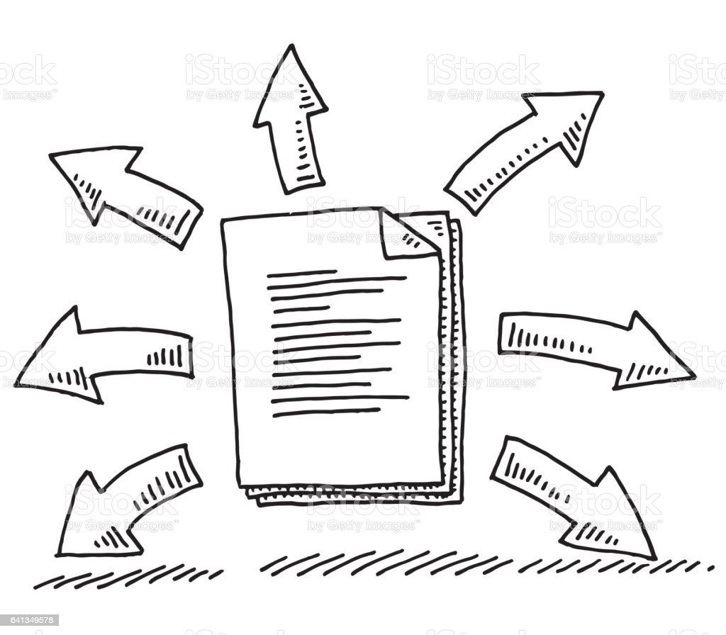 Büromaterial clipart  Papierdokumentsharingsymbol Zeichnung Vektor Illustration ...