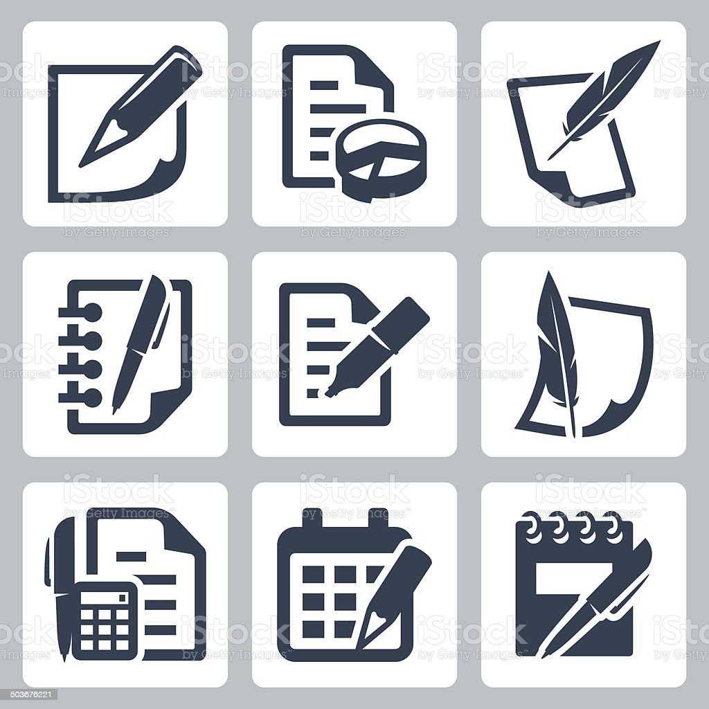 Paper document vector icons set vector art illustration