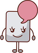 paper document with speech bubble kawaii character
