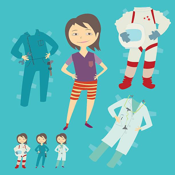 Paper doll girl vector art illustration