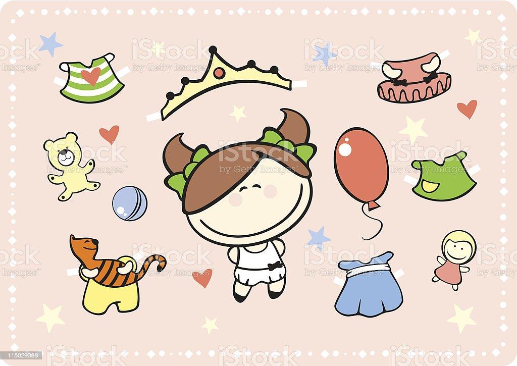 Paper doll - little girl royalty-free stock vector art