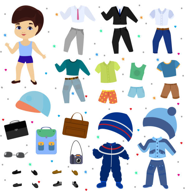 illustrazioni stock, clip art, cartoni animati e icone di tendenza di paper doll vector boy dress up clothing with fashion pants or shoes illustration boyish set of male clothes for cutting cap or t-short isolated on white background - compagni scuola
