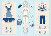 Paper doll with clothes and accessories.