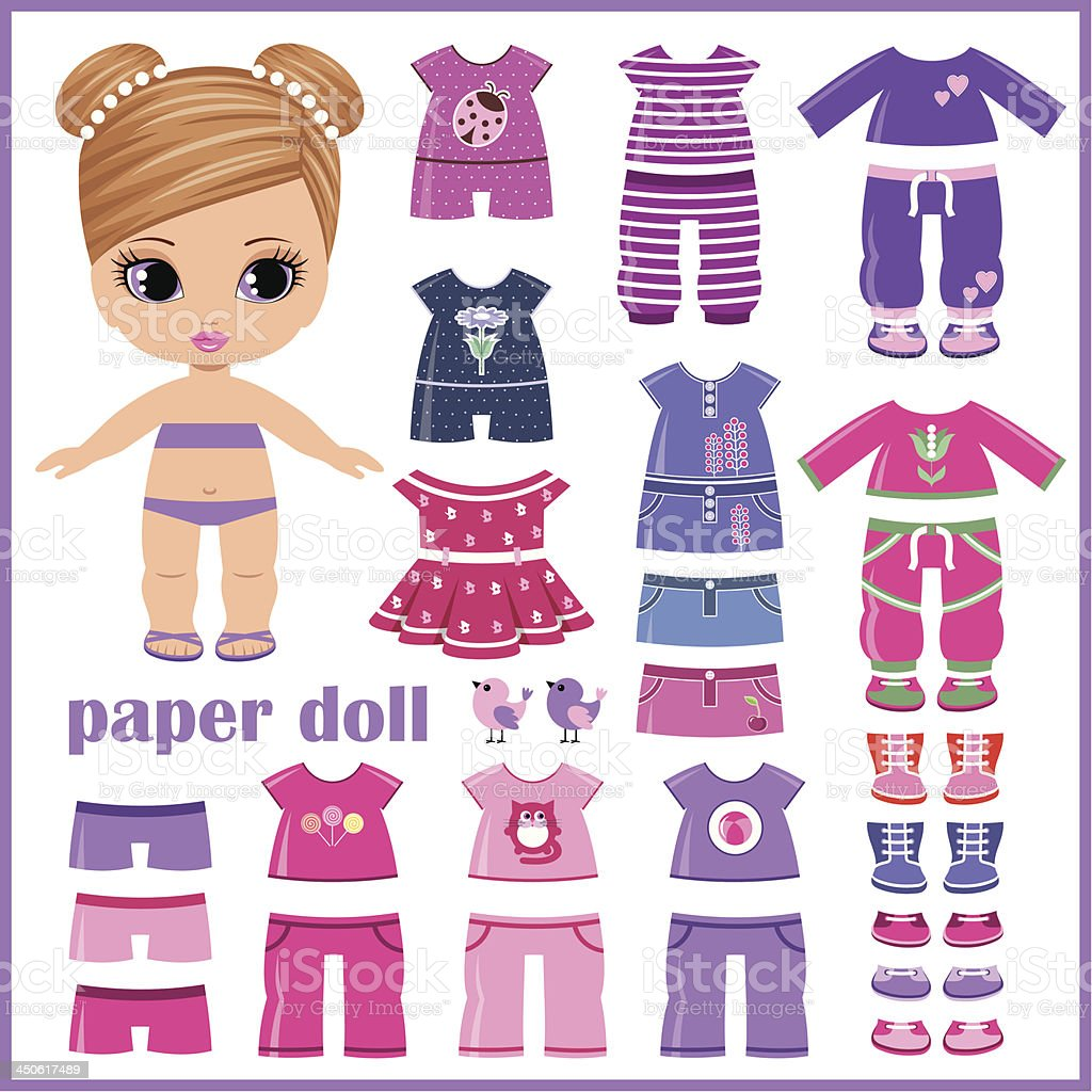 Paper doll with clothes set vector art illustration