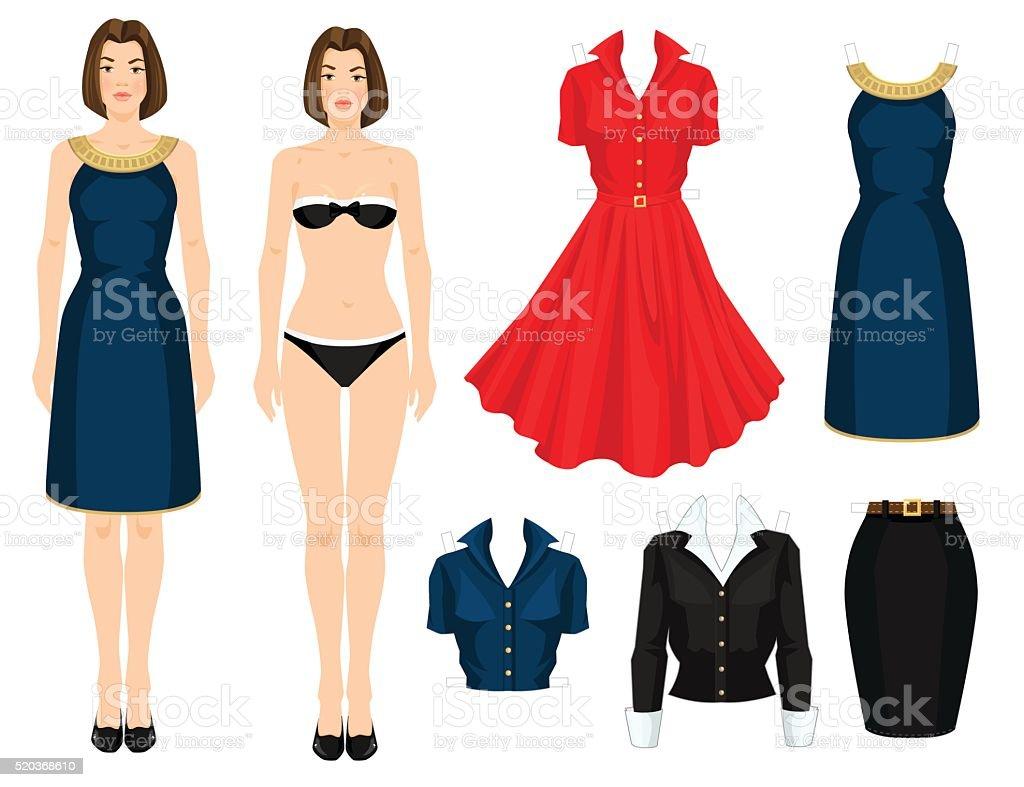 Marioneta de papel con la ropa. - ilustración de arte vectorial