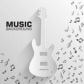 paper electro guitar vector background concept. Illustration tamplate for web and mobile
