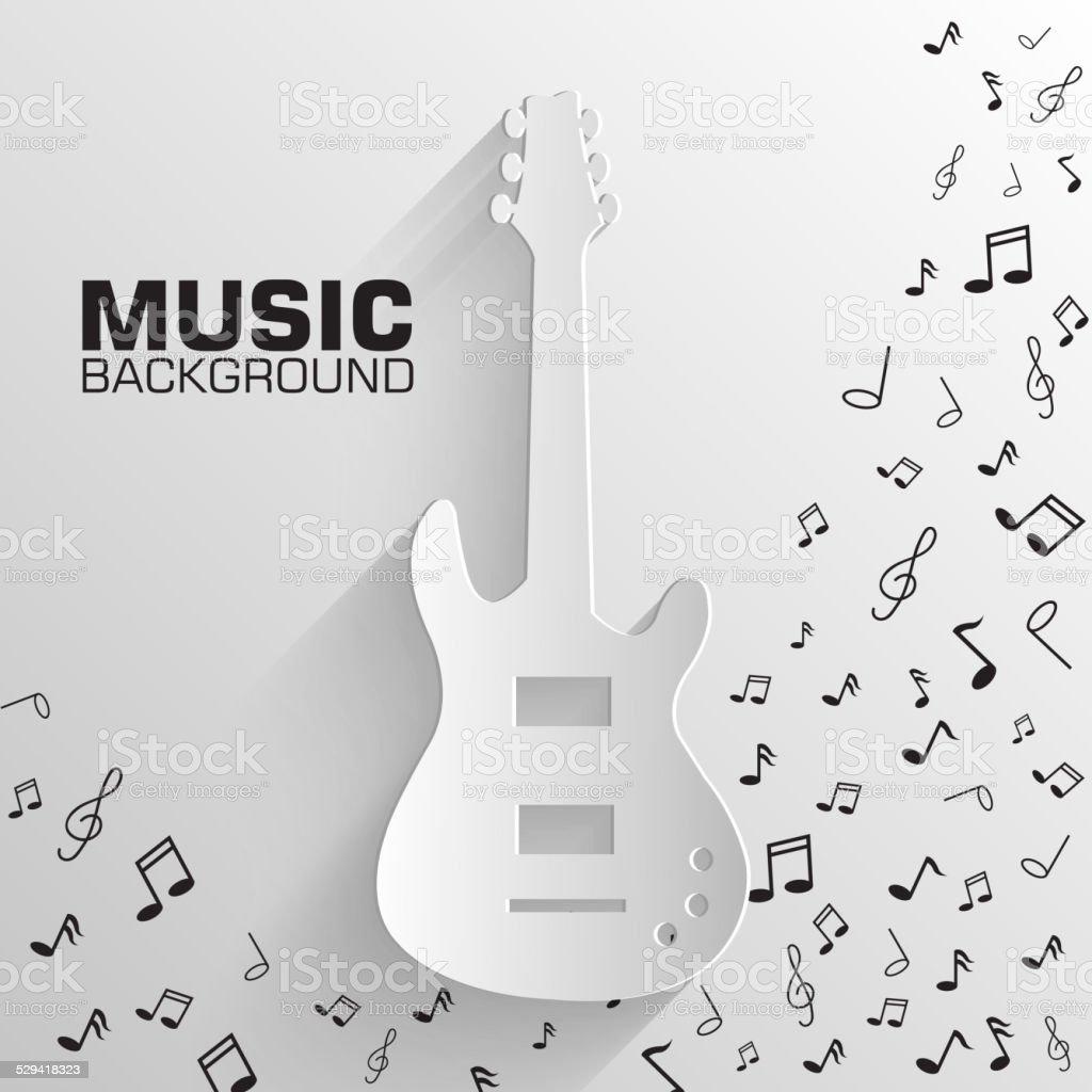 paper electro guitar vector background concept. Illustration vector art illustration