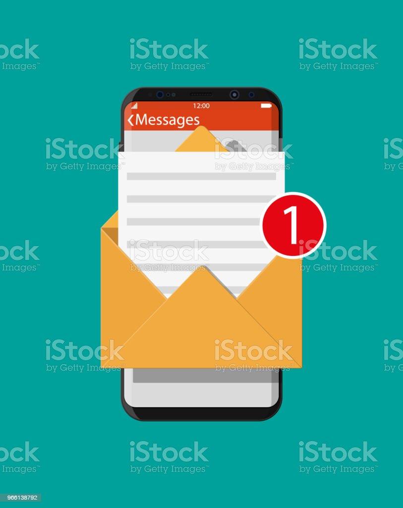 Papper kuvert brev i smartphone - Royaltyfri App vektorgrafik