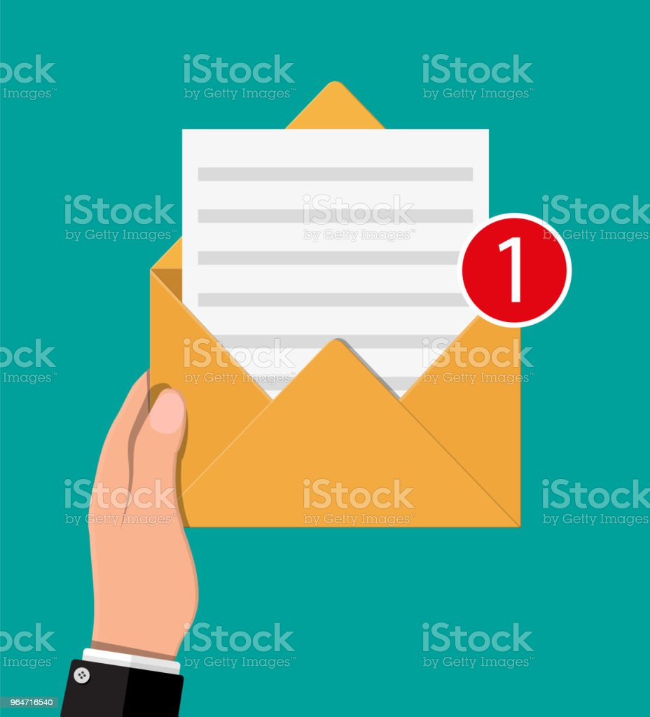 Paper envelope letter with counter notification. royalty-free paper envelope letter with counter notification stock vector art & more images of advice