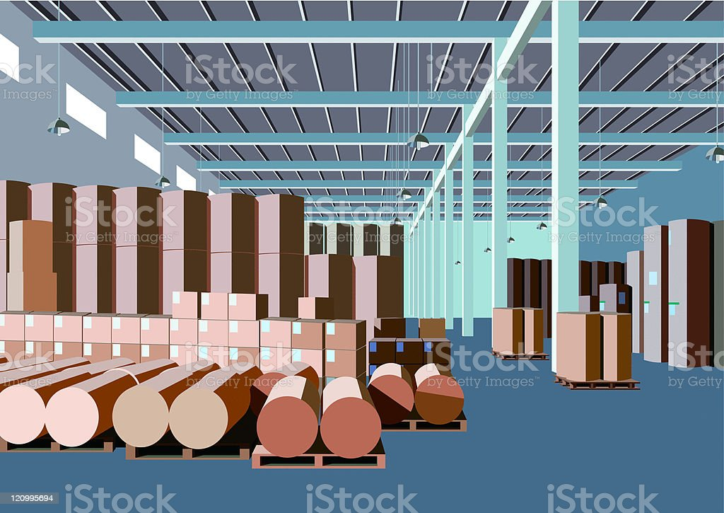 paper factory warehouse vector art illustration