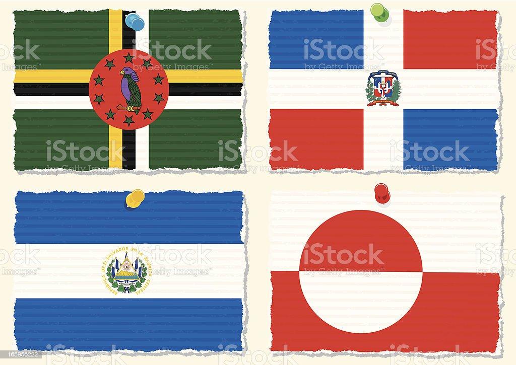 Paper Flags vector art illustration