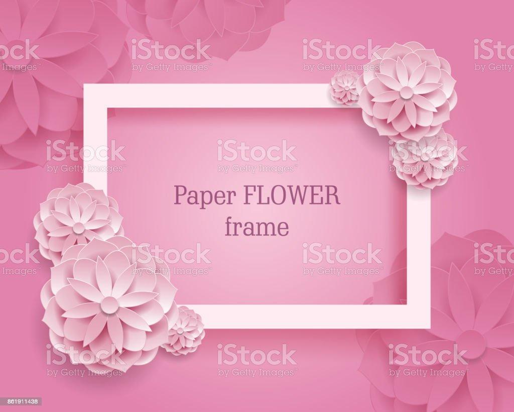 Fond De Rame Rectangulaire Rose Fleur Papier Cliparts Vectoriels
