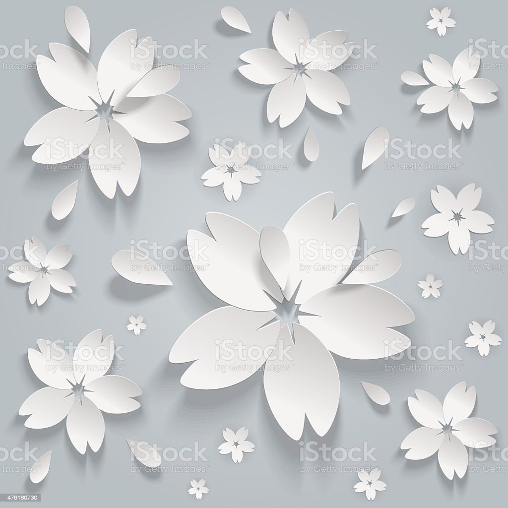Paper flowers abstract seamless pattern vector art illustration