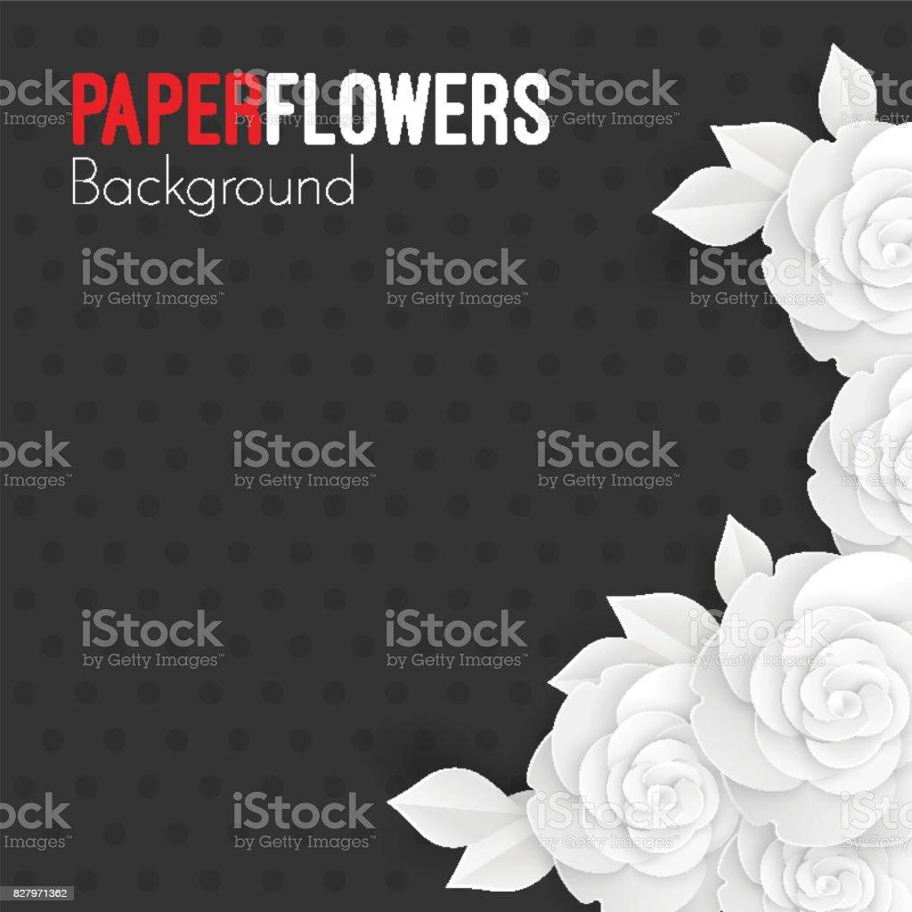 Kağıt çiçekler arka plan metin, beyaz origami gül için yer ile vektör sanat illüstrasyonu