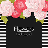 Paper flowers background with stripped frame, black middle and roses
