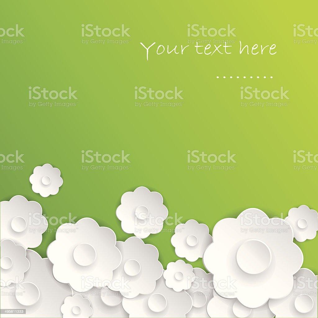 Paper flowers.Spring card vector art illustration