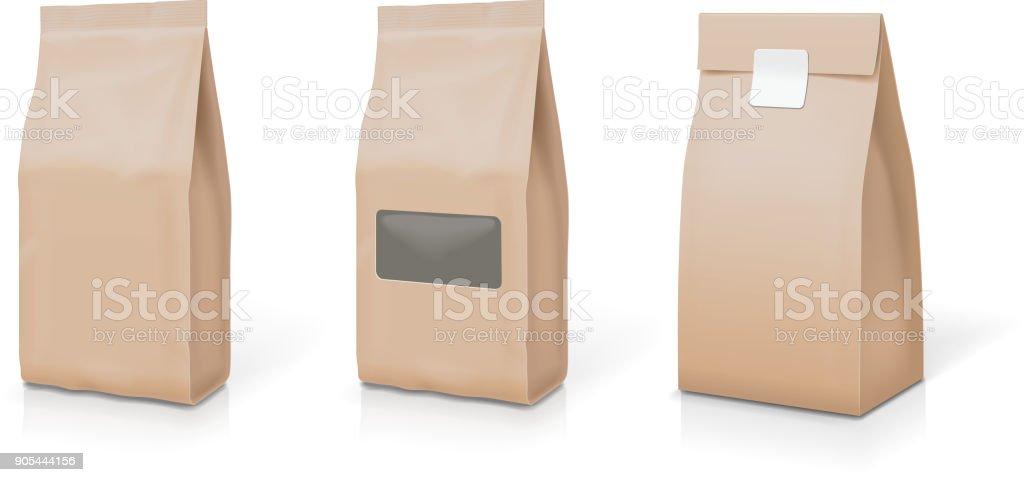 Folha de papel para alimento de pé snack sachê saco embalagem conjunto - ilustração de arte em vetor