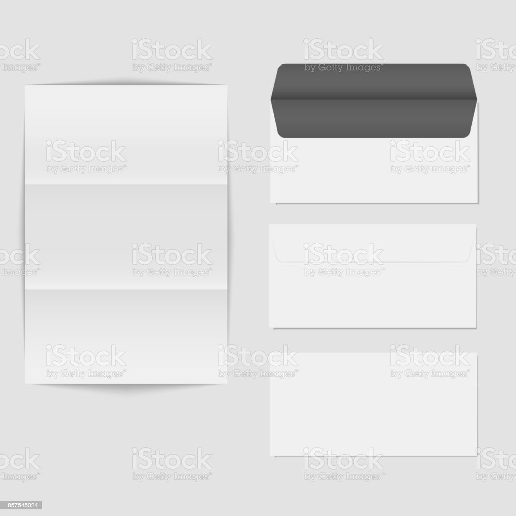 paper folded letter and blank envelope template isolated on white