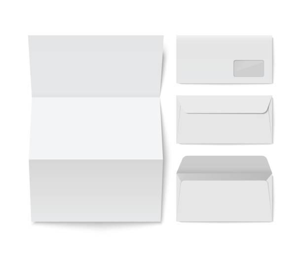 Papier gefaltet Brief Umschlag und Blanko-Vorlage – Vektorgrafik