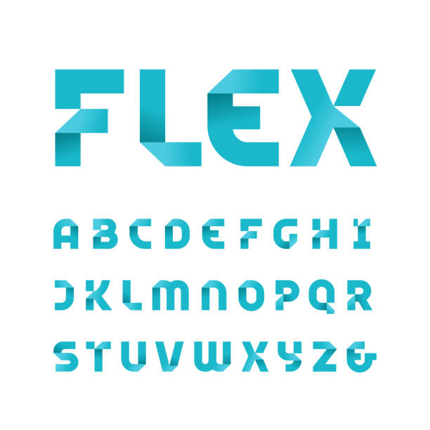 paper font. vector alphabet with fold effect letters. - alphabet icons stock illustrations