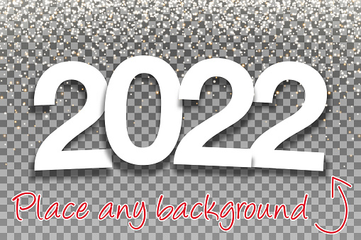 2022 - Paper Font with gold glitter for Design - Blank Background