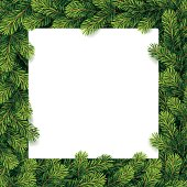 Vector illustration of Paper for christmas list on a pine branches. Eps10, Ai10.