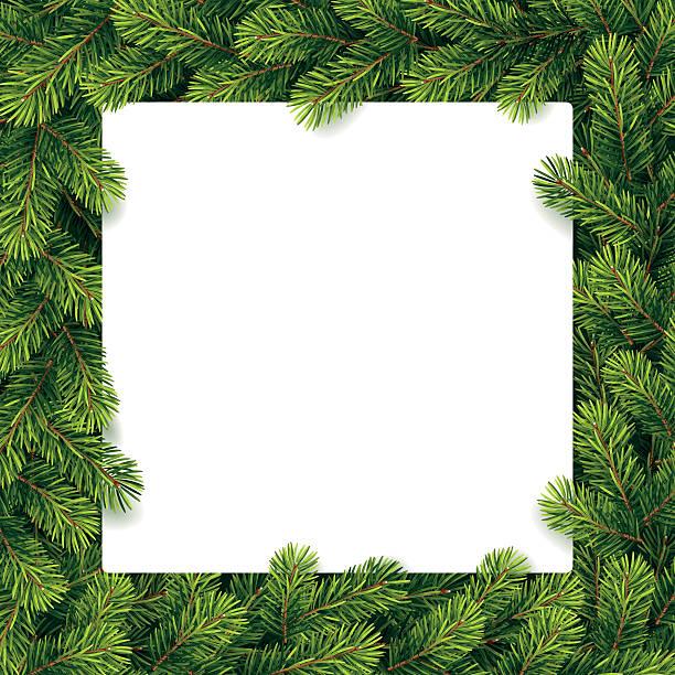 紙のクリスマスギフトリスト、松の枝 - ホリデーシーズンと季節のフレーム点のイラスト素材/クリップアート素材/マンガ素材/アイコン素材