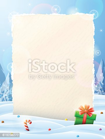 istock Paper for christmas list sticking out of snow 615238272