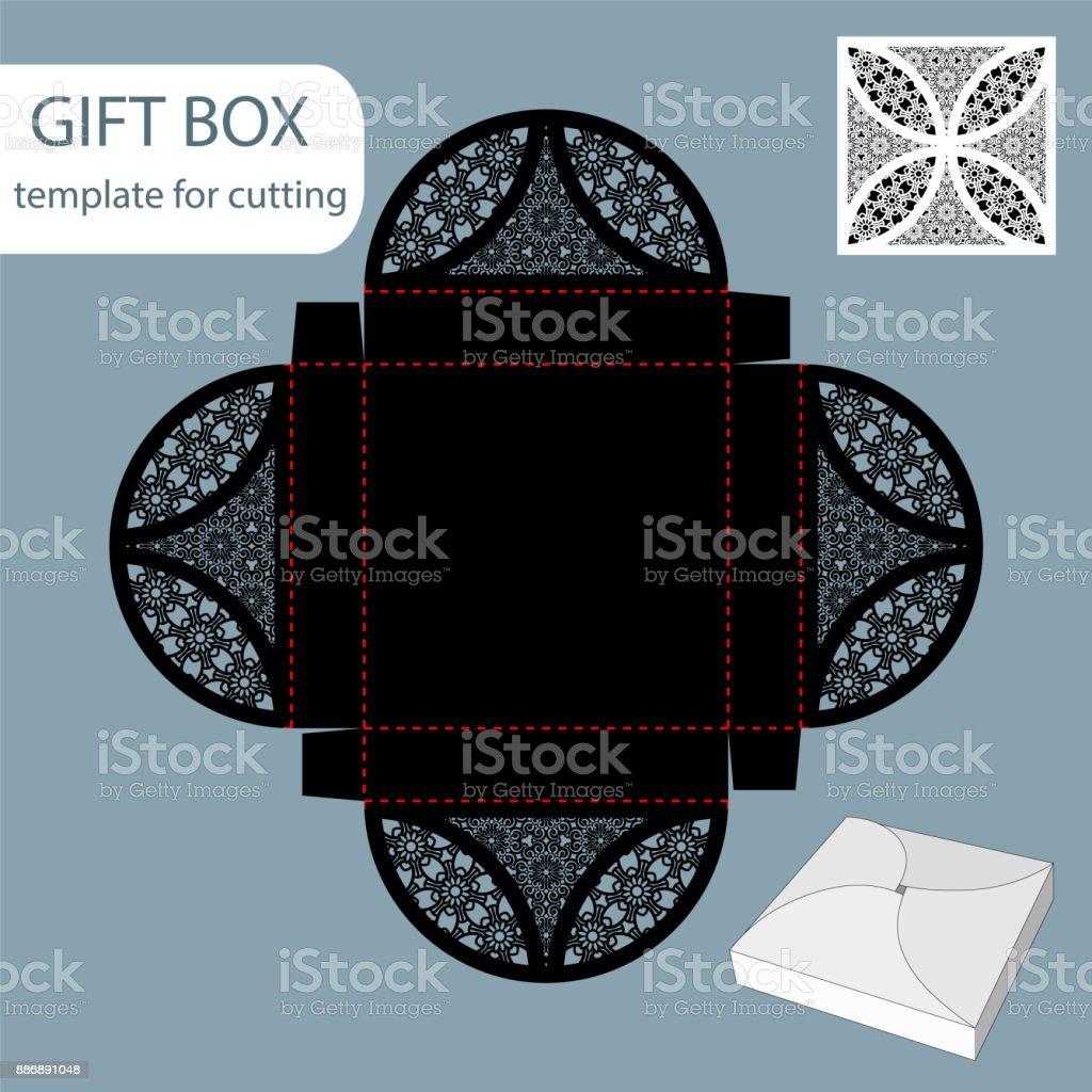 Papier Geschenkbox Lochmuster Quadratische Unterseite Vorlage ...