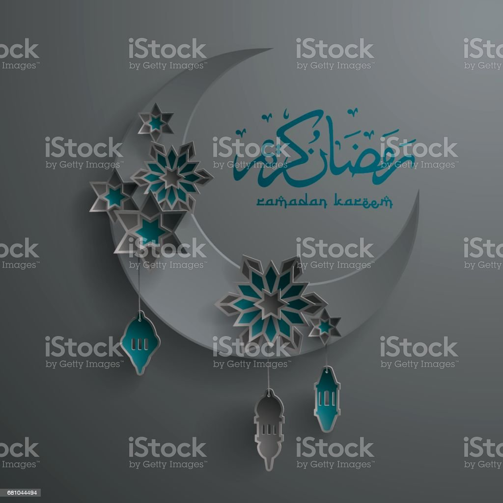 Paper graphic of islamic crescent moon. Islamic decoration. royalty-free paper graphic of islamic crescent moon islamic decoration stock vector art & more images of art