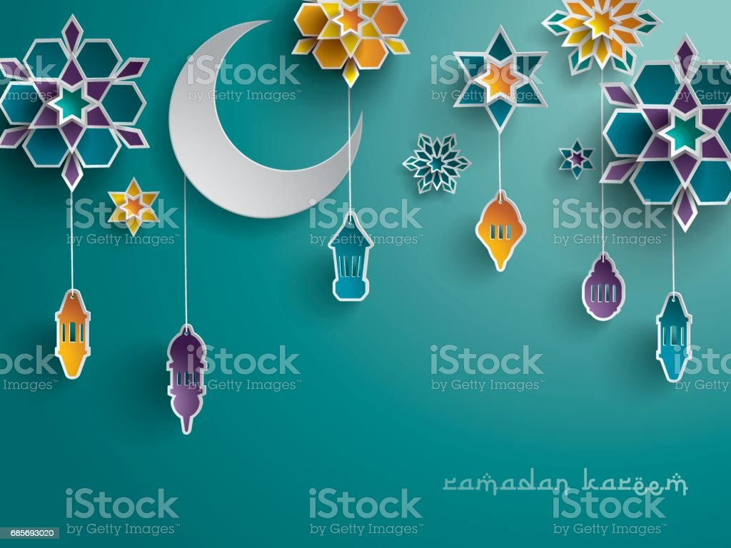 Paper graphic of Islamic decoration. Geometry art, Crescent moon and Arabic lantern. vector art illustration