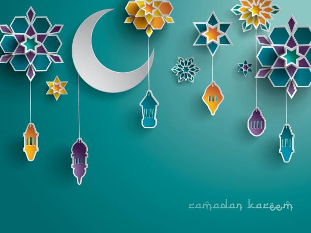 paper graphic of islamic decoration. geometry art, crescent moon and arabic lantern. - ramadan stock illustrations, clip art, cartoons, & icons