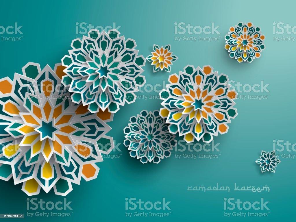 Paper graphic of islamic geometric art. Islamic decoration. vector art illustration