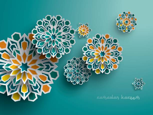 paper graphic of islamic geometric art. islamic decoration. - ramadan stock illustrations, clip art, cartoons, & icons