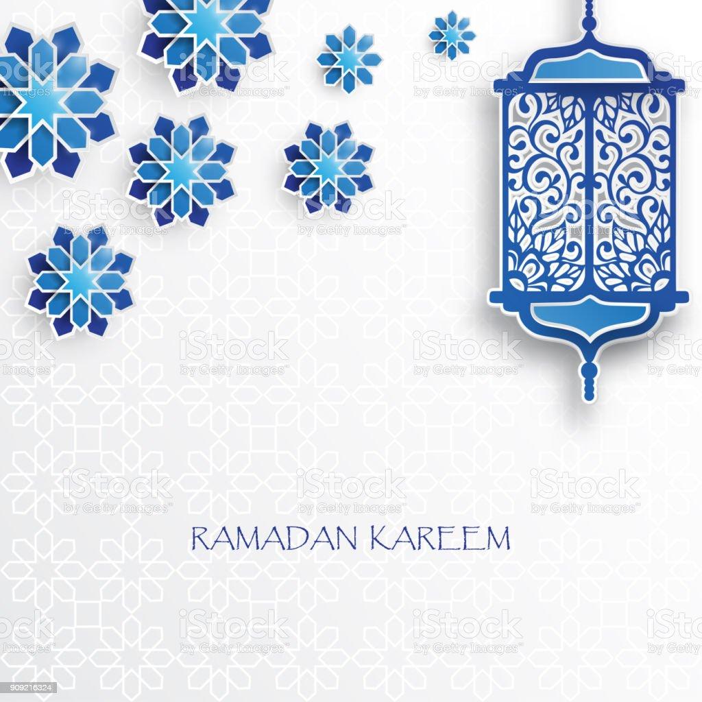 Paper graphic of islamic lantern and stars. vector art illustration