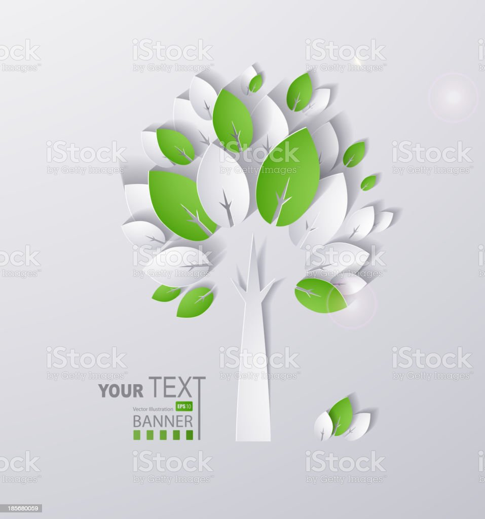paper green tree vector art illustration