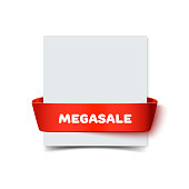 Paper greeting card with curved red gift ribbon bow and inscription Megasale isolated on white. Realistic vector illustration of white paper note card with ribbon with space for text for advartising banner and decoration