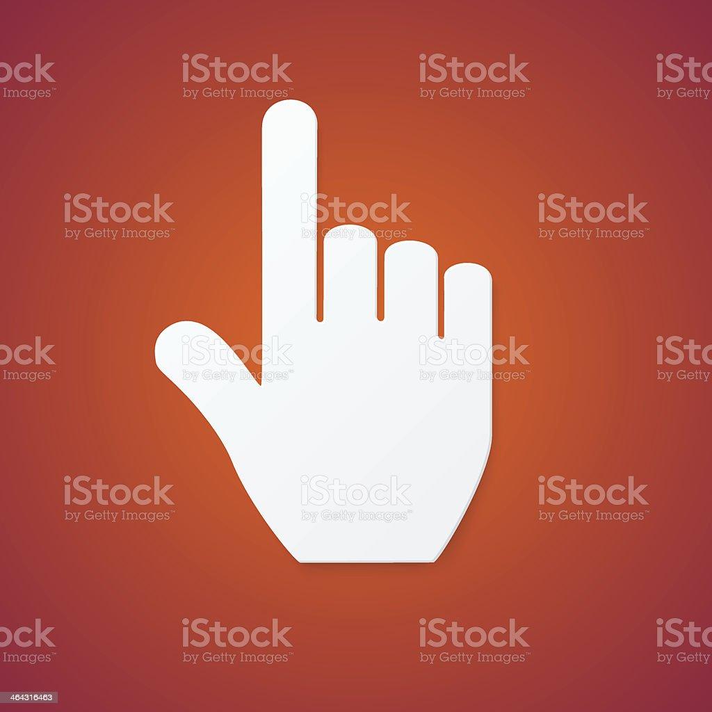 Paper Hand Cursor on Orange Background vector art illustration