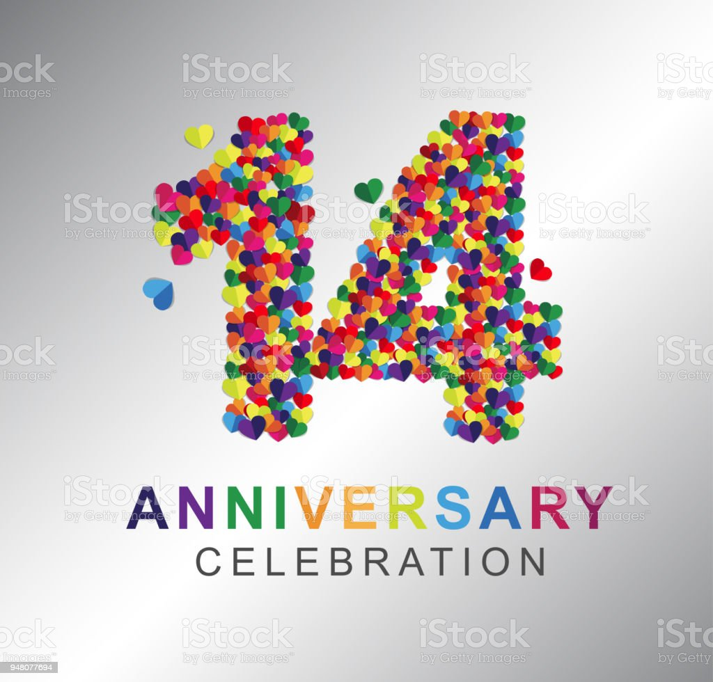 Paper Heart 14 Years Anniversary Stock Vector Art More Images Of