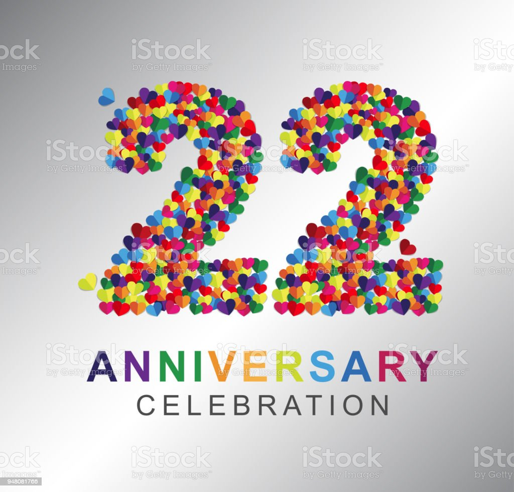 paper heart 22 years anniversary stock vector art more images of