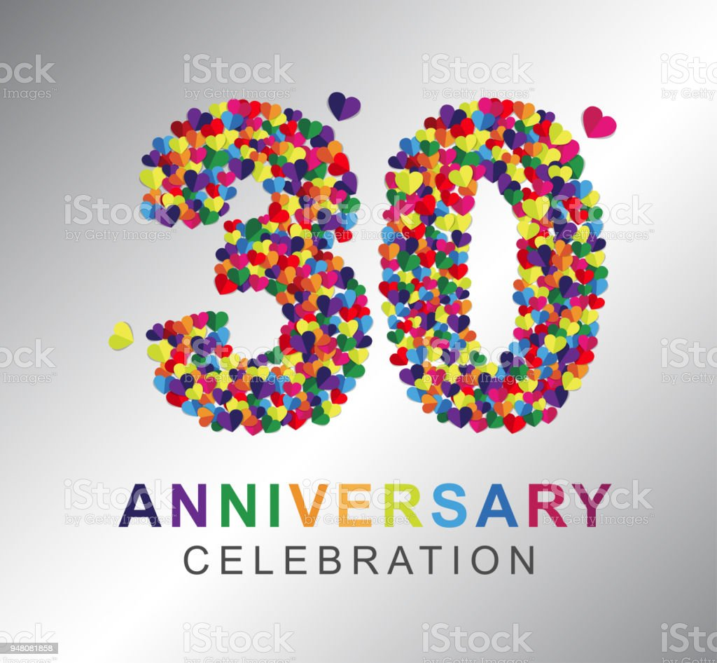 paper heart 30 years anniversary stock vector art more images of