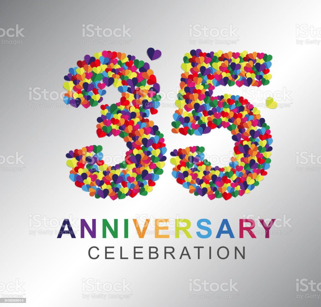 Paper Heart 35 Years Anniversary Stock Vector Art More Images Of