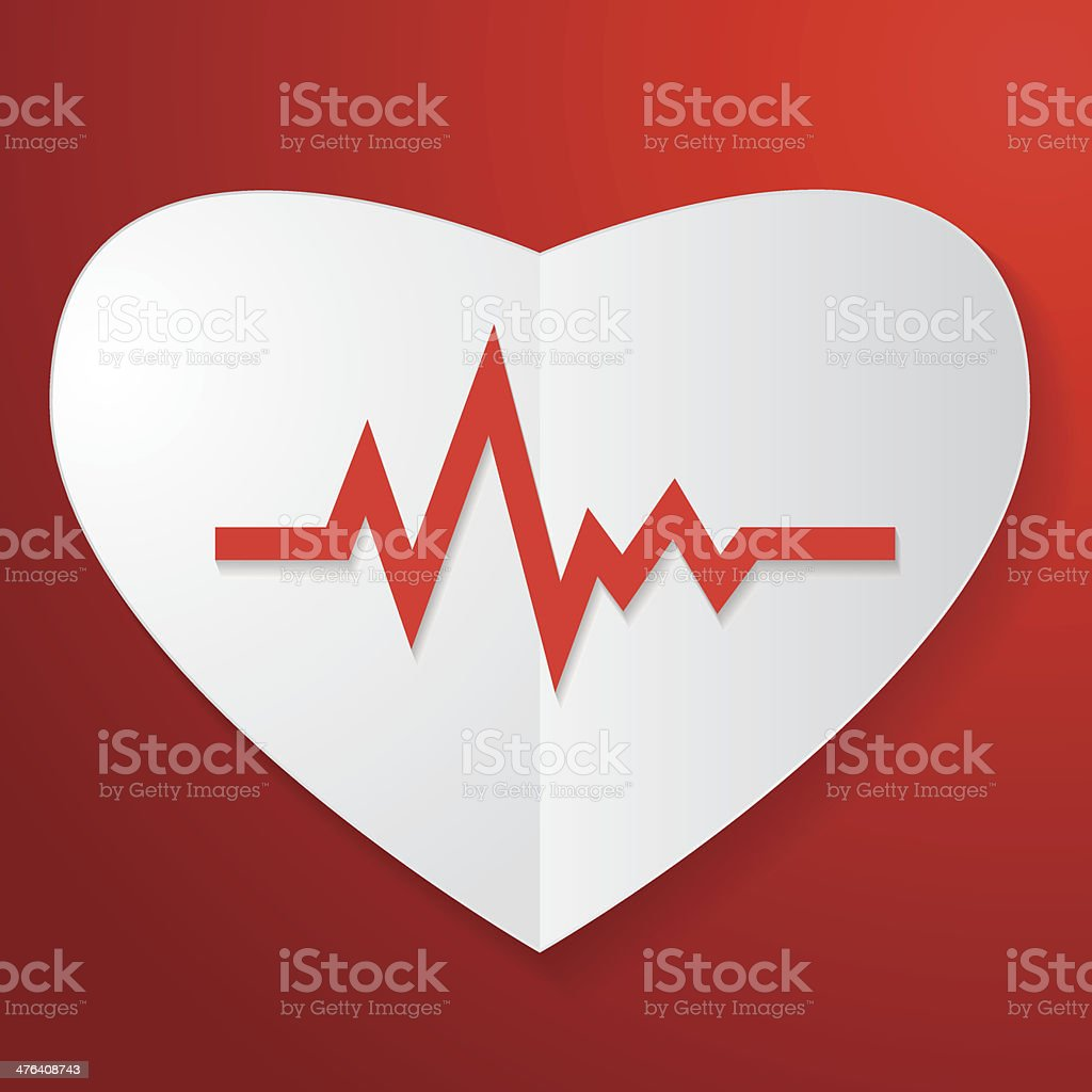 Paper Heart and Pulse royalty-free stock vector art