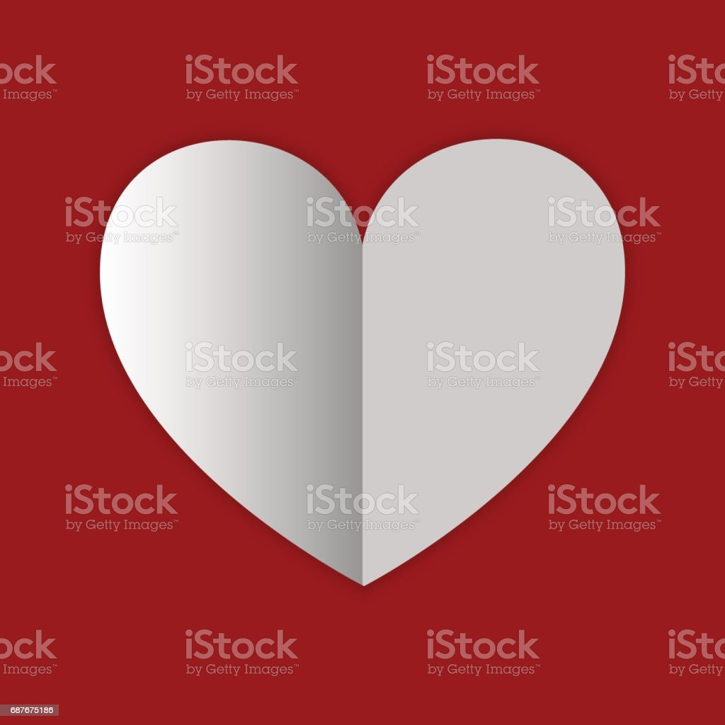Paper Heart Valentine Day Card Background Stock Vector Art More