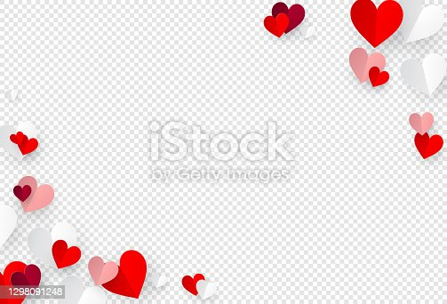 Paper hearts decoration on transparent background with empty space for your message