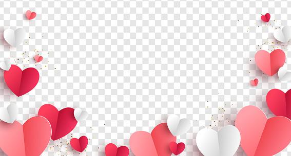 Paper hearts transparent background