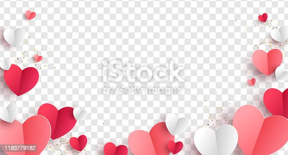 Red, pink and white hearts with golden confetti isolated on transparent background. Vector illustration. Paper cut decorations for Valentine's day design