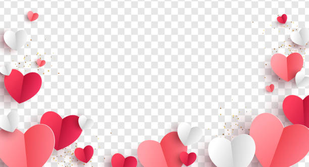 Paper hearts transparent background Red, pink and white hearts with golden confetti isolated on transparent background. Vector illustration. Paper cut decorations for Valentine's day design romance stock illustrations